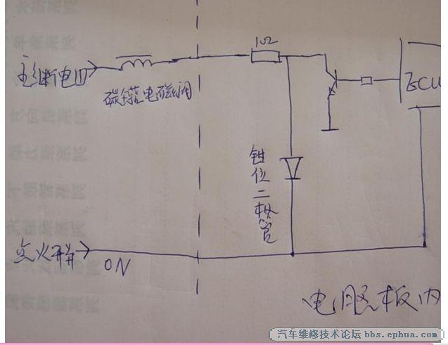 开关on主继电器工作12v电通过电磁阀到1欧限流电阻分两路三极管的